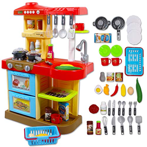 """Set de Cocinita """"My Little Chef"""" para los más peques. Incluye 30 accesorios. En color Rojo o Rosa. Fácil de montar y colocar. Robusta, estable. Materiales seguros, NO Tóxicos. Juego de imitación: perfecto para actividades recreativas y desarrollo de ..."""