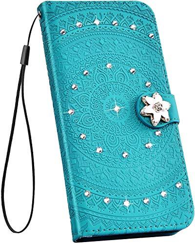 Ysimee Hülle kompatibel mit Samsung Galaxy S10 Plus, Glitzer Handyhülle PU Ledertasche Kartenfach mit Handschlaufe Eingelegten Strass Bing Schutzhülle Ständer Funktion Flip Cover, Diamante Grün