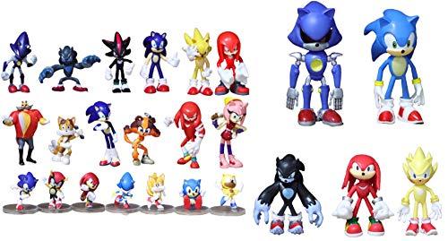 Conjunto figuras Sonic 24 piezas/cada lote de juego de muñecas móviles de dibujos animados Sonic Sonic Shadow Amy rose knuckle tail modelo coleccionable muñeca juguete regalo para niños