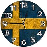 youmengying Co.,ltd Reloj De Pared Colores De La Bandera De Suecia Reloj De Pared Relojes Decorativos Impermeables Reloj Ligero con Manecillas De Números Romanos Reloj De Pared Redondo Duradero