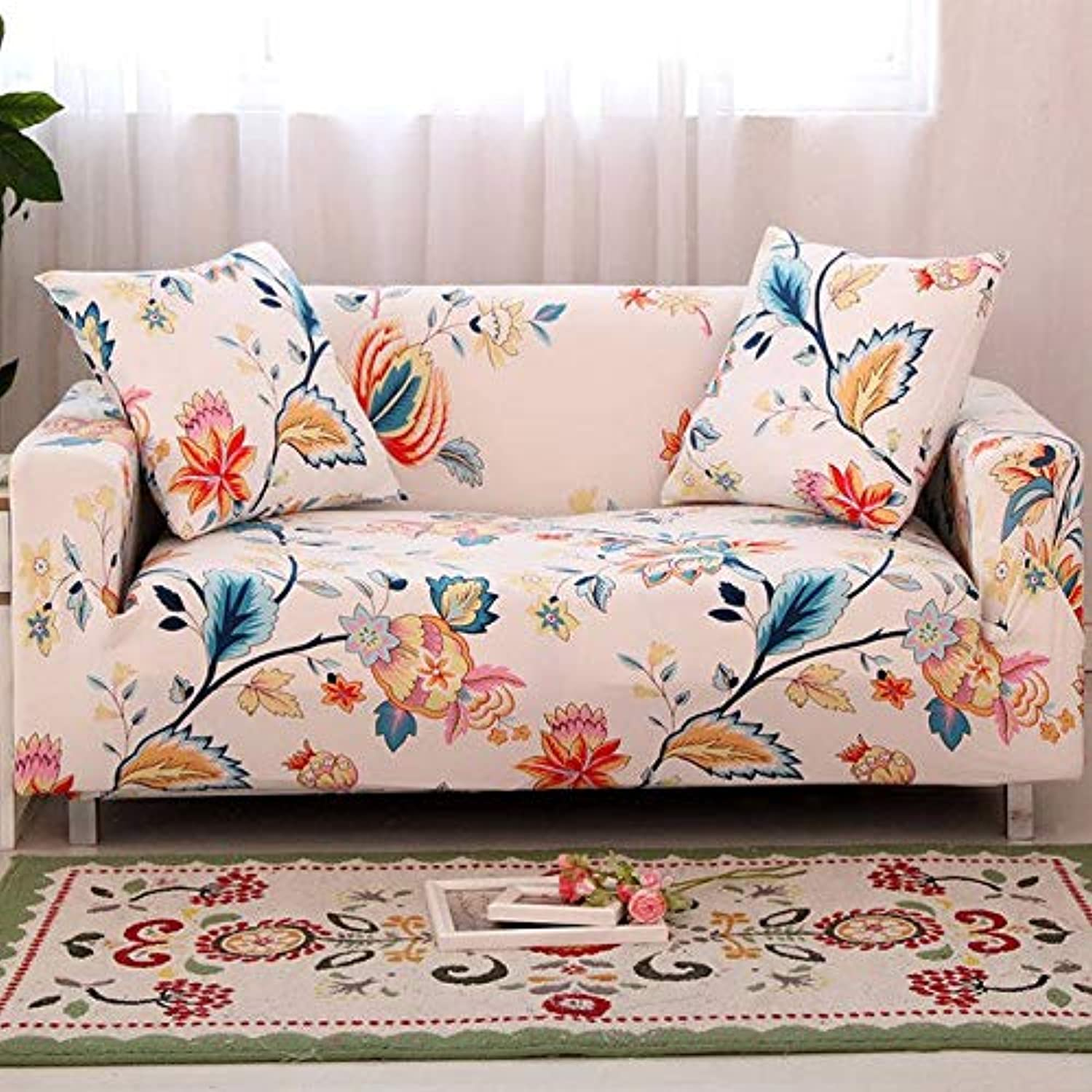 Floral Printing Stretch Elastic Sofa Cover Cotton Sofa Towel Slip-Resistant Sofa Covers for Living Room   colour9, Two-Seater
