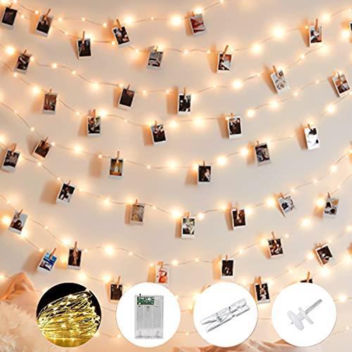 LED Fotoclips Lichterkette für Zimmer, Mobxpar 100 Led 10m Lichterkette mit Klammern für Fotos, Bilderrahmen Dekor für Wohnzimmer, Weihnachten, Hochzeiten, Party (50 Klammern & 20 Nägeln, Warmweiß)