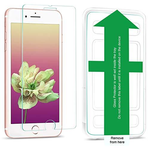 wsiiroon Panzerglas Schutzfolie kompatibel mit iPhone 7 Plus / 8 Plus / 6S Plus / 6 Plus, [2 Stück] Panzerglasfolie mit Schablone, Anti-Kratzen, Anti-Öl, 9H Härte,Transparentes Folie Schutzglas