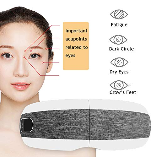 YOUNGFUN Eye Massager with Heat Air Compression Music Vibration Eye Therapy Massager for Relieve Eye Strain Dark Circles Eye Bags Dry Strengthen Eye Improve Sleep (Grey&White01)