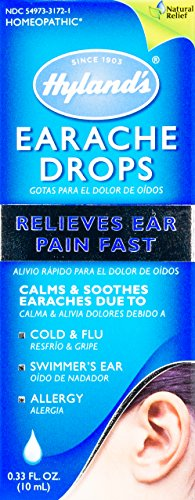 Hyland's Earache Drops, Natural Relief of Cold & Flu Earaches, Swimmers Ear and Allergies Relief for Adults and Children, 0.33 Ounce