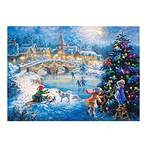 HENA DIY 5D Diamond Painting Kits for Kids, Adults, Full Drill Rhinestone Embroidery Cross Stitch Craft for Canvas Wall Decor Christmas Christmas Tree Sleigh Girl (Size : 40X50CM)
