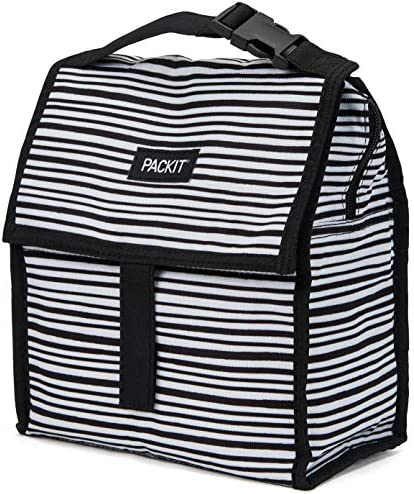 PackIt Freezable Lunch Bag with Zip Closure, Gray Stripe