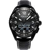 Alpina Men's AlpinerX Fiber Glass Swiss Quartz Sport Watch with Leather Calfskin Strap, Black, 22 (Model: AL-283LBBW5AQ6)