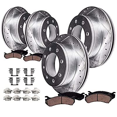 Detroit Axle - Front & Rear Drilled Slotted Brake Rotors Ceramic Pads w/Hardware for 2000-2005 Ford Excursion 4WD - [2000-2004 F-250 Super Duty 4WD] - 2000-2004 F-350 Super Duty 4WD SRW