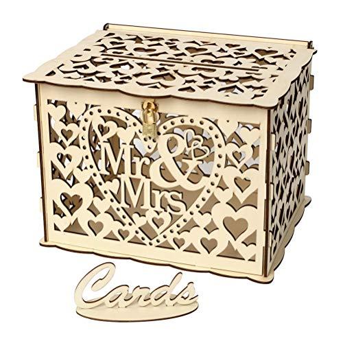 PRETYZOOM Hochzeitskartenbox aus Holz, rustikal, hohl, mit Schloss und Gummiringen für Hochzeit, Brautparty, Party-Dekorationen (kleine Größe)