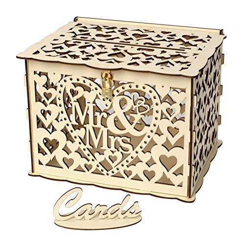 PRETYZOOM Hochzeitskartenbox aus Holz, rustikal, hohl, Mr Mrs, Hochzeit, Spardose mit Schlüssel, Gummiringe für Hochzeit, Brautparty, Party, Dekorationen (kleine Größe)