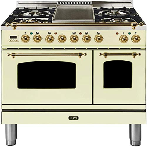Ilve UPDN100FDMPA Nostalgie Series 40 Inch Dual Fuel Convection Freestanding Range, 5 Sealed Brass Burners, 4 cu.ft. Total Oven Capacity in Antique White, Brass Trim (Natural Gas)