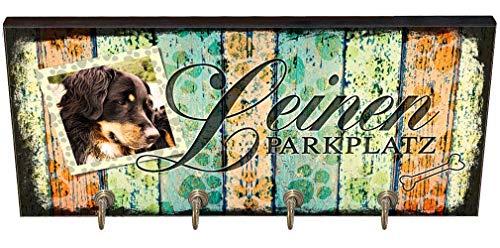 Cadouri Hundegarderobe LEINEN PARKPLATZ » personalisiert mit Bild « Wandgarderobe, Leinenhalter┊tolle Geschenkidee für Hundeliebhaber