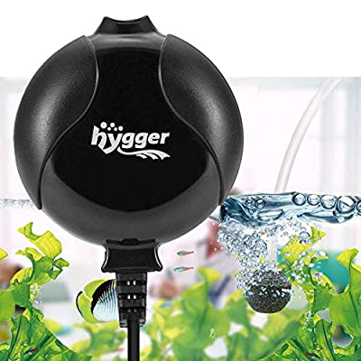 hygger Aquarium Air Pump, Ultra Silent <33dB Fish Tank Air Pump, 1.5W 420 ml/min High Energy Saving Air Pump with Air Stone, Silicone Tube, Suction Cup and Clips, for Fish Tanks up to 55 Litre (Black)