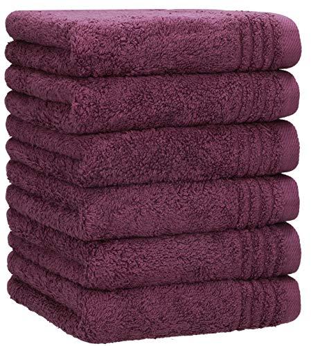 Betz Toallas de baño (6 unidades, 100% algodón, 30 x 30 cm), color morado