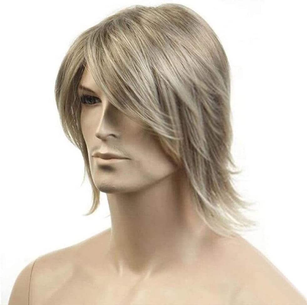 ZHFRC High-Temperature Under blast sales Synthetic Large discharge sale Fiber Wigs Gold Short Men H for