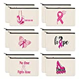 PARBEE 12 Pack Breast Cancer Awareness Canvas Makeup Bags Pink Ribbon Cosmetic Pouches Multi-purpose Zipper Organizers