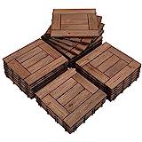 Yaheetech 27 Piezas Baldosas de Madera de Abeto 30,8 x 30,8 x 2,2cm (2.6m²) Suelo de Madera con Base de PP para Patio Interiores Exteriores Terraza de Jardín Junto a la Piscina marrón