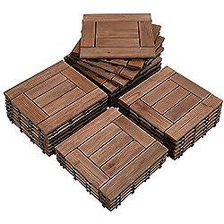 in budget affordable Yaheetech27PCS Wood Floor Floor Tiles Deck Tiles Interlocking Pavement Slab Dance Bathroom Shower…