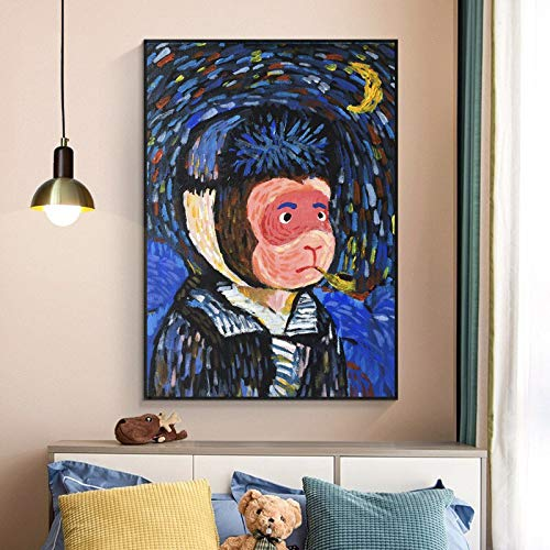 ganlanshu AFFE Kunst Malerei Maler berühmte Kunst Leinwand Wohnzimmer Wand rahmenlose Malerei 20cmX30cm