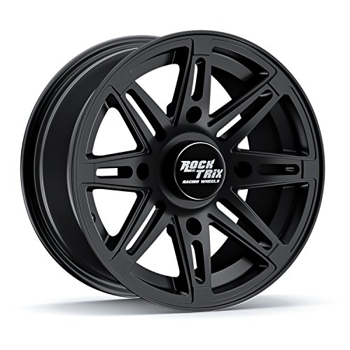 RockTrix RT103 14in ATV Wheel Rim 14x7 Matte Black   4x156 Bolt Pattern   4+3 offset   Compatible withPolaris Sportsman RZR Ranger (4/156) - 1pc Single
