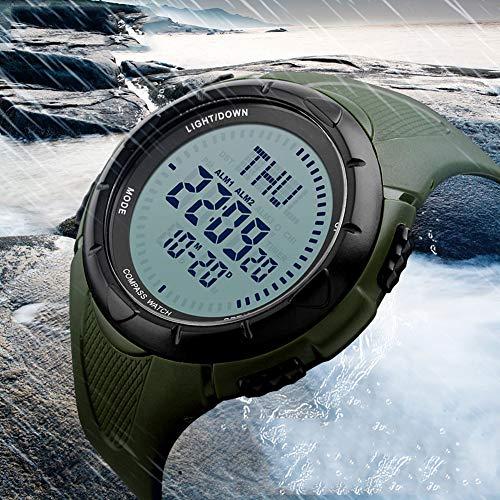 ZHEBAO Neue Outdoor Kompass Männer Militärische Sportuhr Digitalen Countdown Mit Großen Zifferblatt LED Elektronische wasserdichte Schwarze Uhr (2 * 0,6) Zoll,Green,5.1 * 1.5Cm