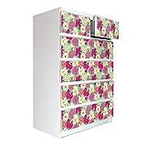 banjado Möbelaufkleber passend für IKEA Malm Kommode 6 Schubladen | Selbstklebende Möbelfolie | Sticker Tattoo perfekt für Wohnzimmer und Kinderzimmer | Klebefolie Motiv Florida Blüten