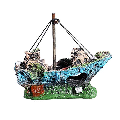 QUCHENG Acuario accesorios barco acuario decoración pequeño pescado camarón refugio