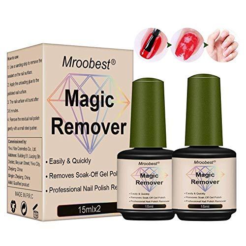 Dissolvants Magiques pour Vernis à Ongles, Magic Remove Gel, Supprime le Vernis Gel Soak-Off en 3 à 5 Minutes, Facilement et Rapidement N'abîme pas vos Ongles (2 x 15ml)