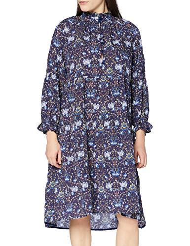 Noa Noa Damen Otn Sheer Tencel Dress Long Sleeve,Knee Length Lässiges Kleid, Blau, 42