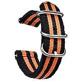 OLLREAR Nylon Correa Reloj Lienzo Correa Relojes del ejército - 9 Colors & 3 Sizes 20mm Black/Orange