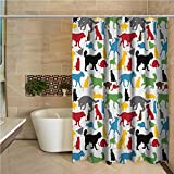"""Kids Bath Shower Curtain Colorful Cats and Dogs Animal Silhouettes Domestic Pets Cartoon Canine Characters Shower Stall Curtain 72""""x72"""",Multicolor"""