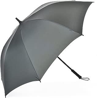 Long Handle Umbrella Men's Business Large Double Handle Semi-Automatic Reinforcement Windproof Straight Umbrella Huhero (Color : Green)