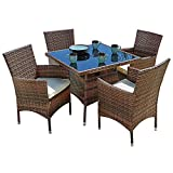 SUNCROWN Outdoor Furniture All-Weather Square Wicker Dining Table and Chairs (5-Piece Set) Washable Cushions, Patio, Backyard, Porch, Garden, Poolside, Tempered Glass Tabletop, Modern Design