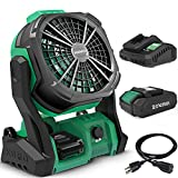 KIMO Portable Fan Battery Operated, 10' Rechargeable High-Velocity Desk Fan w/Hook & Variable Speed, Outdoor Fans for Patios Waterproof/Jobsite/Camping/Travel/Hurricane/Garage(Extension Cord Included)