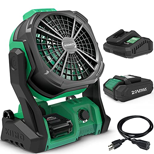 """KIMO Portable Fan Battery Operated, 10"""" Rechargeable High-Velocity Industrial Fan w/Hook & Variable Speed, Outdoor Fans for Patios Waterproof/Jobsite/Camping/Hurricane/Garage(Extension Cord Included)"""