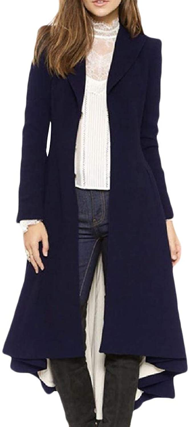 Abetteric Women's Overcoat Outwear Wool Blend Walker Coat Vogue Peacoat