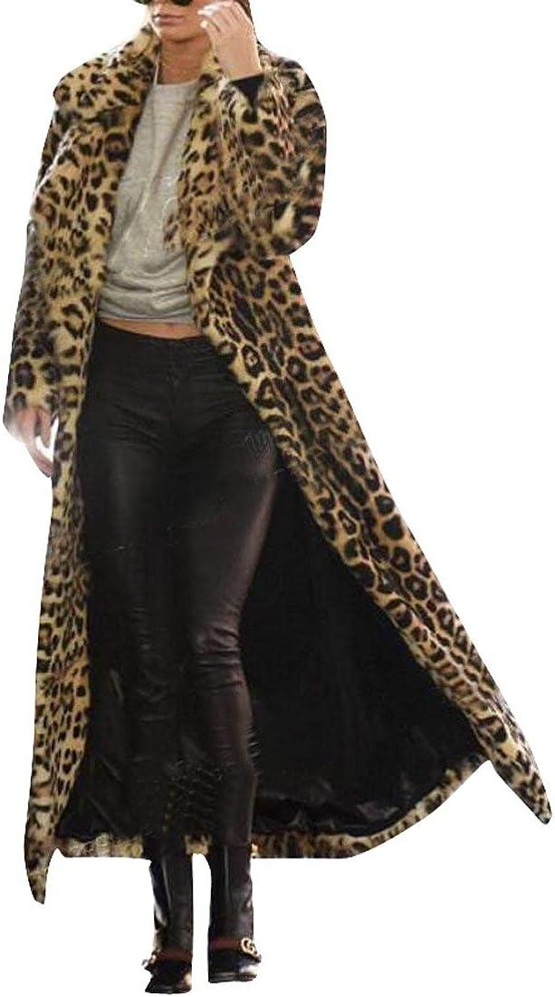 BU2H Women's Winter Warm Lapel Leopard Faux Fur Long Cardigan Coat one US L