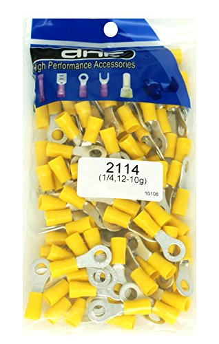DNF 200 Pack Copper 12-10 Gauge Yellow Ring Terminals Electrical Wire Connectors 1/4""