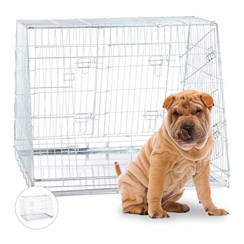 Relaxdays Hundetransportbox, Faltbarer Hundekäfig, doppelt, mit Trennwand, Gitterbox, 3 Türen, Hundebox Auto, XL, Silber