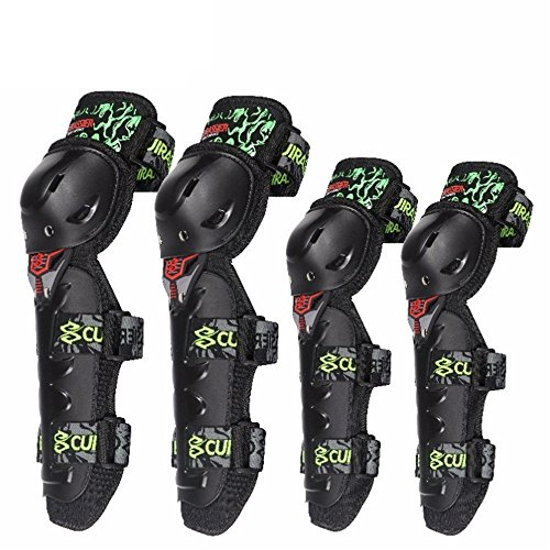 Shenghua1979 Best Knee Brace for Men & Women 4 Pieces Motorcycle Knee Pads Elbow Protective Gear Multi-Sports Protective Gear Set Skateboard Single Row Skating BMX Bicycle Scooter (Color : Green)