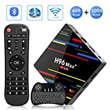Android 9.0 TV Box, H96 MAX+ 4GB RAM + 32GB ROM RK3328 Quad-Core 64bit Cortex-A53 CPU,Support 2.4GHz Wifi /3D/4k/USB3.0 /Tastiera retroilluminata wireless