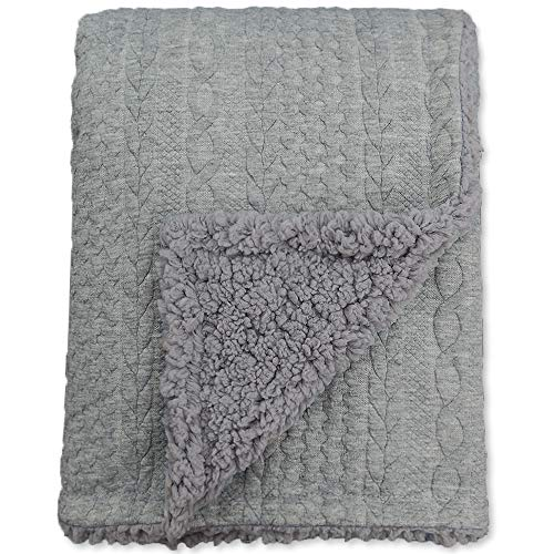 BlueSnail Toddler Knitted Blanket with Plush Shepra Fleece Layer for Boys and Girls (Light Grey, 40W X60L)