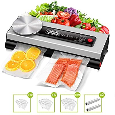 Vacuum Sealer Machine, 80Kpa Automatic Vacuum Food Sealer Machine with Kitchen Food Scale & LCD Display,Dry & Moist Food Modes,Vacuum Air Sealing System For Food Saver