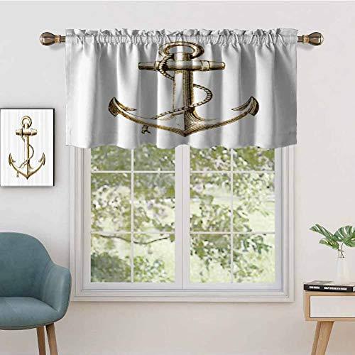 Hiiiman Blackout Curtains Valance with Rod Pocket Gold Foil Anchor Image Be Safe Grounded Voyage Journey, Set of 2, 54'x36' for Living Room Bedroom Home Decor