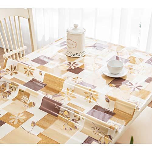 Tovaglia in Vetro Morbido Impermeabile in PVC Impermeabile Anti-scottatura USA e Getta plastica Trasparente Cristallo Versione tavolino tavolino Tingting (Color : Golden Flower, Size : 60 * 120cm)