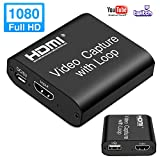 LEADNOVO Video HDMI Capture Card with Loop Out, 4K HD 1080P 60FPS USB 2.0 Capture Card for Live Streaming Broadcasting Video Recording for PS3/4, Xbox One & Xbox 360, Switch, DSLR, Camcorders