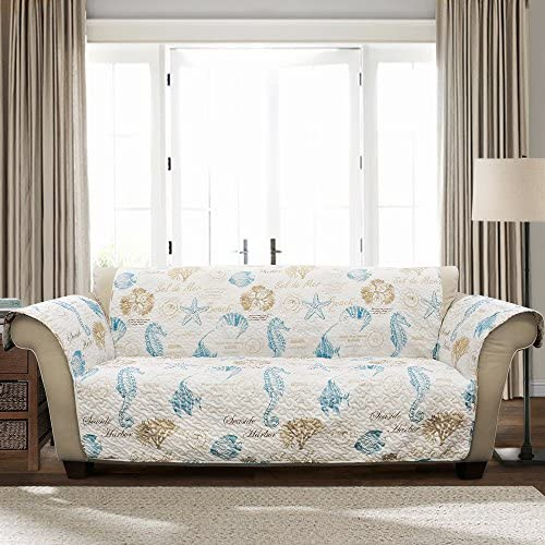 Best Lush Decor Harbor Life Blue Taupe Furniture Protector, Sofa, Blue & Taupe