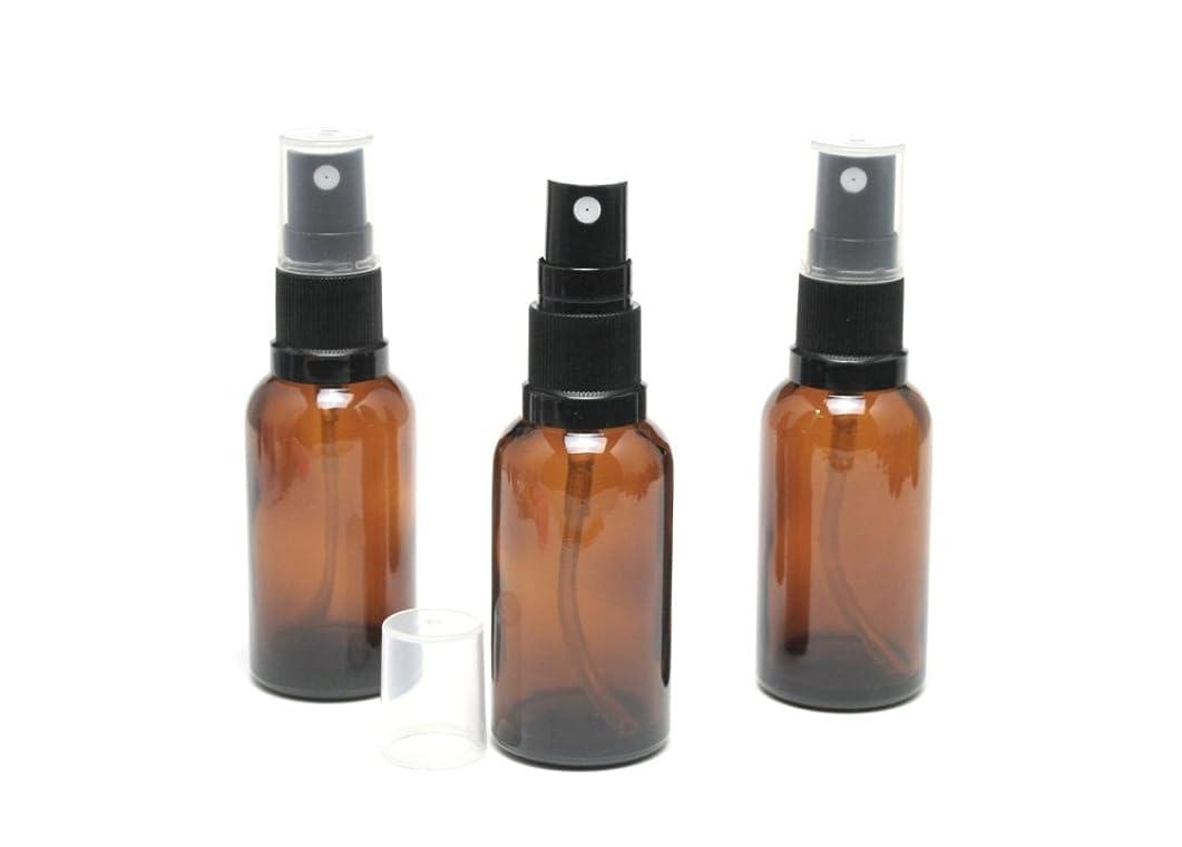 被る月曜オンス遮光瓶 スプレーボトル (グラス/アトマイザー) 30ml アンバー/ブラックヘッド 3本セット 【 新品アウトレット商品 】