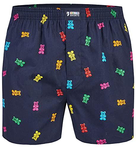 Happy Shorts Herren American Boxer Boxershorts Shorts Webboxer Gummibären - Gummi Bears, Grösse:L, Präzise Farbe:Gummibären - Gummi Bears